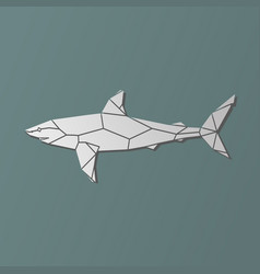 polygonal geometric grey shark vector image