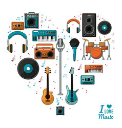 poster i love music with colorful silhouette of vector image vector image