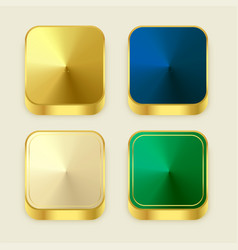 premium golden shiny 3s square buttons vector image