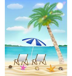 relax beach chair on a sea sand beach vector image