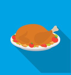 roasted turkey icon in flate style isolated on vector image