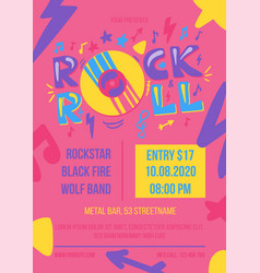 rock and roll party poster template vector image