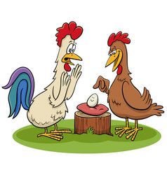 rooster and hen with egg cartoon vector image