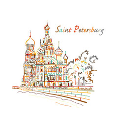 Saint petersburg church of the saviour on spilled vector