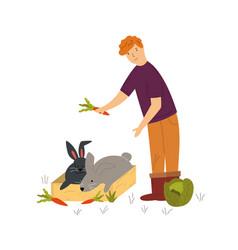 Scene with a farmer feeding cute rabbits vector