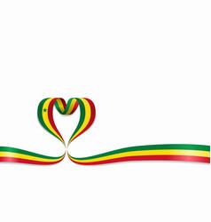 senegalese flag heart-shaped ribbon vector image