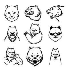 Set bear sport logo concept isolated on vector