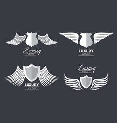 set luxury silver wings vector image