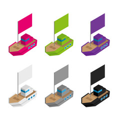 Set of colored and gray isometric ships with flags vector