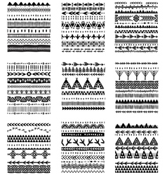 Set of ethnic brushes and patterns vector