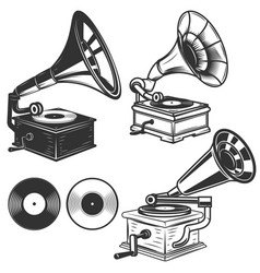 Set of gramophone on white background design vector