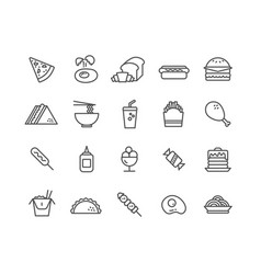 simple set fast food thin line icons vector image