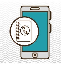 smartphone blue telephone isolated icon design vector image