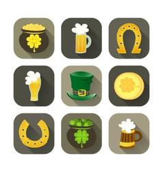 St Patrick Day icon set vector