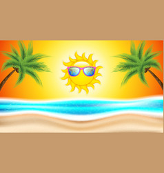 sun with sunglasses vector image