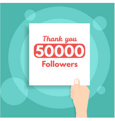 thank you followers banner holds in hand vector image