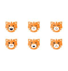 tiger emoticons set cute tiger face emoji vector image