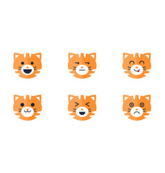 tiger emoticons set cute tiger face emoji with vector image