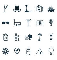 Tourism icons set with yacht camping house vector