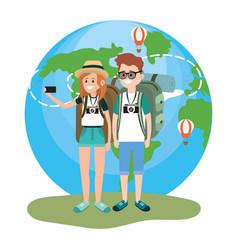 Tourist couple cartoons vector