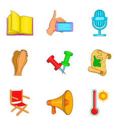Trade show icons set cartoon style vector