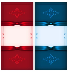 Vintage invitation cards red and blue vector