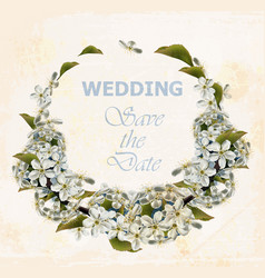 wedding wreath with cherry flowers vector image