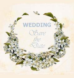 Wedding wreath with cherry flowers vector