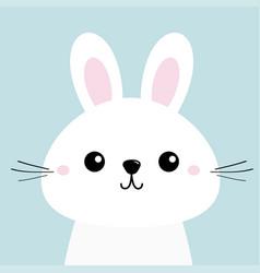 White bunny rabbit funny head baby face big ears vector