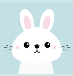 white bunny rabbit funny head baface big ears vector image