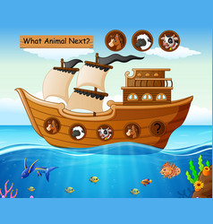 Wood boat sailing with farm animals theme vector