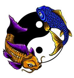 yin yang symbol harmony and balance with koi vector image