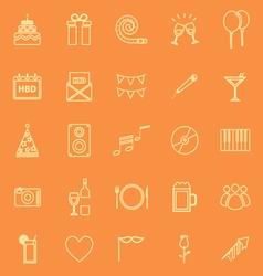Birthday line icons on orange backgound vector