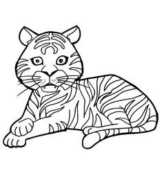 cartoon cute tiger coloring page vector image