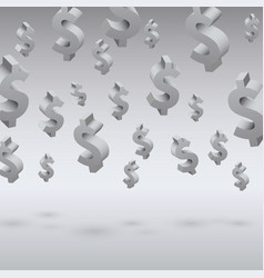 flying dollar symbols on the gray background vector image