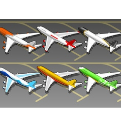 Isometric Airplanes in Six Livery in Rear View vector image