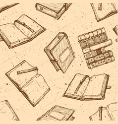 pattern with vintage book vector image