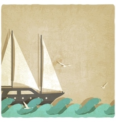 Yacht on waves old background vector
