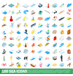 100 sea icons set isometric 3d style vector image