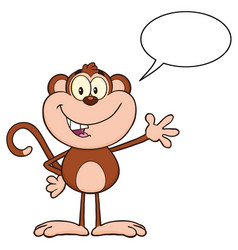 cute monkey cartoon character waving for greeting vector image vector image