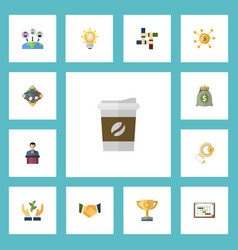 flat icons support schedule coin and other vector image vector image