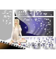 girl at the piano vector image vector image
