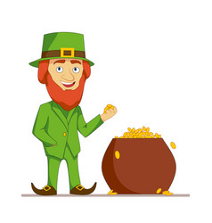 leprechaun in green suit stands next to a pot full vector image