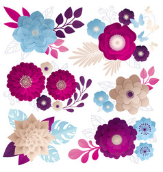 paper flowers compositions colorful set vector image vector image