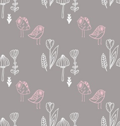 Pattern with mushroom tulips and cute birds vector image vector image
