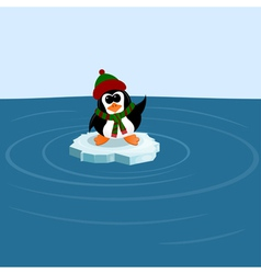 Penguin on an ice floe in the sea vector image vector image