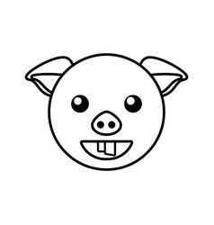 pig face animal outline vector image
