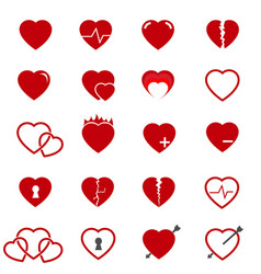 red heart icons set vector image vector image