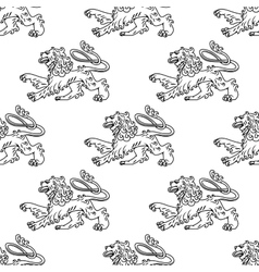 Seamless pattern of a vintage heraldic lion vector image vector image