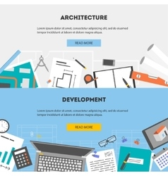 set flat horizontal banners architecture vector image